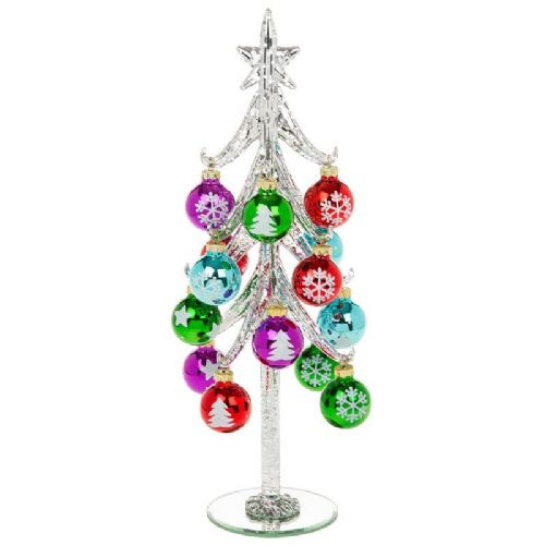 Extra Large Silver Glass Christmas Tree with Bright Multi Coloured Baubles